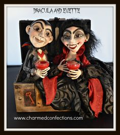 """Dracula & Evette"" created by LeeAnn Kress of Charmed Confections Halloween Poems, Halloween Arts And Crafts, Halloween Magic, Halloween Doll, Halloween Pictures, Vintage Halloween, Halloween Decorations, Halloween Stuff, Haunted Halloween"