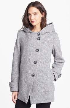 Kristen Blake Asymmetrical Hooded Wool Blend Coat (Nordstrom Exclusive) available at #Nordstrom