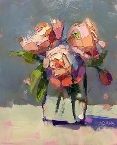 Pink Posies by Trisha Adams Oil ~ 10 x 8