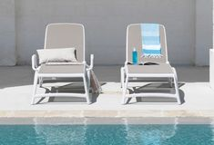 White and Taupe Atlantico Pool Lounger