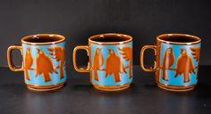 Vintage Mid Century Hornsea Pottery Englad John Clappison Coffee Mugs Birds