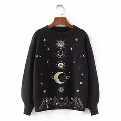 Women Fashion Sweater Moon Star Embroidery Knitting Sweaters O-Neck Winter Warm Pullover Sweater Casual Girls Tops Sweater Crop Top Sweater, Long Sleeve Sweater, Pullover Sweaters, Knitting Sweaters, Girls Crop Tops, Cardigan Fashion, Casual Tops, Sweaters For Women, Moon