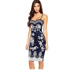 [US $22.93 - 23.58] - Newest Summer Dresses Plus Size Sexy Women Clothing Navy Spaghetti Straps Floral Print Midi Dress LC22135 Vestido De Festa Curto