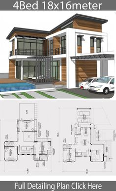 Home design plan with 4 bedrooms - Home Design with Plansearch Double Storey House Plans, Large House Plans, My House Plans, House Layout Plans, Simple House Plans, Simple House Design, Modern House Plans, House Layouts, Architectural Design House Plans