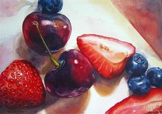 """Berries and Cherries"" - Original Fine Art for Sale - © Kara K. Bigda"