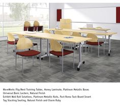 National Office Furniture - WaveWorks Flip/Nest Training Tables with Tag side/guest seating in training room area.