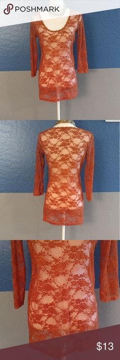 """Downeast Basics Top Beautiful Copper Brown 3/4 Sleeves 36"""" Bust Nylon Spandex Bundle and Save Downeast Tops"""