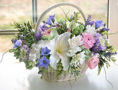 Букет в корзине Provence. Цветы из полимерной глины. Екатерина Звержанская.