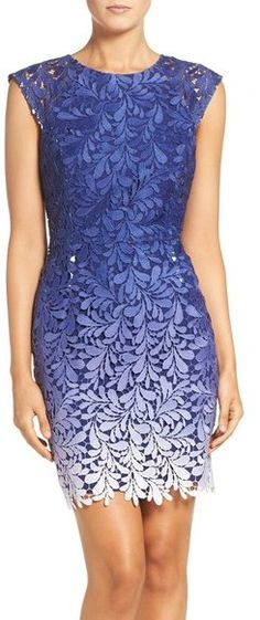 Adelyn Rae Ombré Lace Sheath Dress