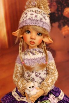 """Hand Knit Doll Outfit Set for BJD Doll 18"""" Kaye Wiggs #"""