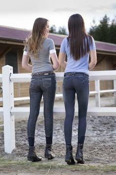 """Jeans equitazione donna Equi-thème modello """"FLEUR"""" monta inglese, tessuto elasticizzato stretto con strisce cucite in contrasto, effetto vintage."""
