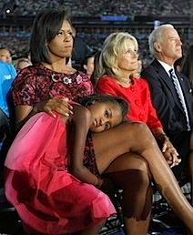 """There is an interesting post up at Michelle Obama Watch discussing Elizabeth Peyton's painting """"Michelle and Sasha Obama Listening to Barack Obama at the Democratic National Convention August I encourage your thoughts on it. Barrack And Michelle, Michelle And Barack Obama, First Black President, Mr President, Black Presidents, Greatest Presidents, Obama Daughter, Mom Daughter, Daughters"""