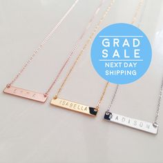 Personalized Name Bar Necklace Custom Name Necklace Bridesmaid Gift best friend necklace mother of the bride gift - 4N by MignonandMignon on Etsy https://www.etsy.com/listing/263681757/personalized-name-bar-necklace-custom