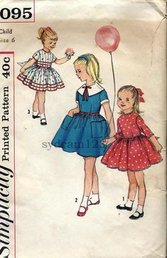 #Vintage 1959 Girls Dress Large Pilgrim Collar or Collarless...Large Patch Pockets. #Sewing #pattern Simplicity 3095 Size 6