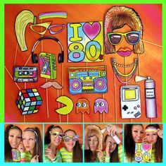 eighties photo booth props - perfect for a throw back 80s theme party or a crazy retro themed rockstar event. $14.99, via Etsy.