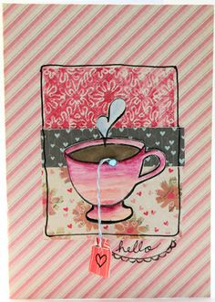 Themed Thursday: Coffee and Tea Cards.  rubber stamped cards #pwp #paperwingsproductions