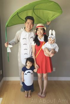 "Sneak peek of upcoming blog post: Our family's cosplay for Animethon 2015! I reused my Mei costume and Ryan. Myla, and Brie are the three different sized Totoro's from Studio Ghibli's ""My Neighbor Totoro""!  Stay tuned to see how we made the girls' costumes and other accessories!"