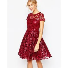 Ted Baker Mahima Sequin Floral Full Skirt Dress ($536) ❤ liked on Polyvore featuring dresses, xmid red, slimming cocktail dresses, floral print dress, floral cocktail dress, red cocktail dress and sequin cocktail dresses
