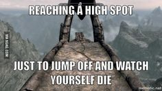 Though the spot in the picture is bards jump i believe it is called and if you do survive the fall then you get an Easter egg. But if you do do this be sure to clear out the forsworn at the bottom before you jump