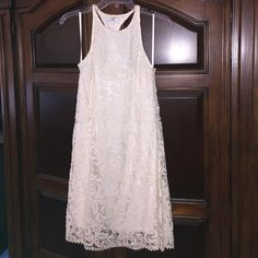 Adorable Lace Racerback Dress Worn once, fully lined, gorgeous floral lace, print - looks great alone with flats or heels or under jacket with boots! Cache Dresses Mini