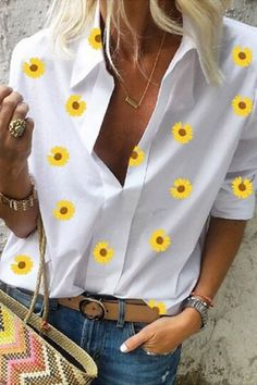 Daisy Printed Long Sleeve Blouse #Blouses