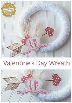 DIY Valentine's Day Wreath-- you can swap out the elements and use the wreath form for other holidays too!