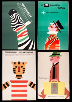 Tom Eckersley (1914-1997) is a British artist and teacher of design who created numerous graphic posters from the 1940s to the 1980s. His work carries a strong message with bold overlaid colors, simplified forms, and informative typography.