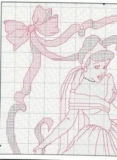 Cinderella -bride 1 of 4 Cross Stitch Charts, Cross Stitch Patterns, Cinderella Crafts, Stich Disney, Stitch Cartoon, Swedish Weaving, Disney Crafts, Princesas Disney, Cross Stitching