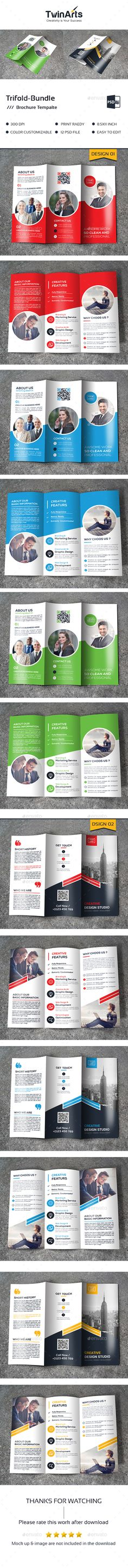 Tri-fold Brochure Template PSD Bundle. Download here: https://graphicriver.net/item/trifold-bundle_2-in-1/17175002?ref=ksioks