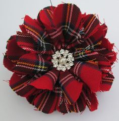 Red Scottish Tartan Brooch Red Tartan Corsage by AwfyBrawJewellery