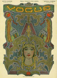 Vogue Cover - December 1907 Poster Print by Artist at the Condé Nast Collection Vogue Vintage, Vintage Vogue Covers, Vintage Fashion, Alphonse Mucha, Art Nouveau, Vintage Posters, Vintage Art, Vintage Labels, Vintage Decor