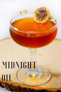 Banana, coffee and vanilla create a dangerous trio in this boozy rum rendition. Midnight Oil was inspired by morning coffee and fresh-baked banana bread. Sounds like a drink for holiday brunch. Thanksgiving Cocktails, Festive Cocktails, Thanksgiving Side Dishes, Craft Cocktails, Christmas Cocktails, Fruit Drinks, Party Drinks, Liquor Drinks, Bourbon Drinks