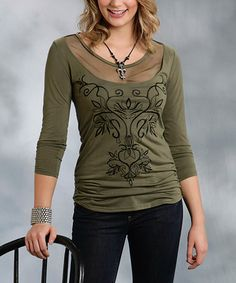 Look at this Roper Green Mesh-Yoke Scoop Neck Top - Women & Plus on #zulily today!