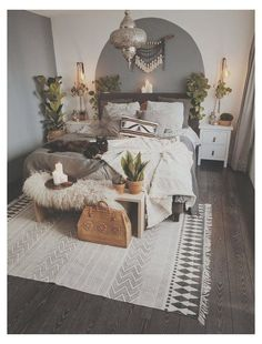 Boho Bedroom Decor, Trendy Bedroom, Modern Bedroom, Bedroom Ideas, Master Bedroom, Bedroom Inspiration, Bedroom Lighting, Bedroom Designs, Dream Bedroom