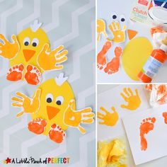 Handprint and Footprint Chick: Easy Spring and Easter Craft for Kids-perfect to make for spring, Easter, or while enjoying farm themed activities. crafts footprints Handprint Chick: Easy Spring and Easter Craft for Kids - Easter Crafts For Toddlers, Easter Arts And Crafts, Easy Toddler Crafts, Spring Crafts For Kids, Bunny Crafts, Easter Activities, Kids Crafts, Easy Crafts, Daycare Crafts