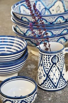 blue & white dishes.