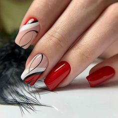 red nail designs 90 Beautiful Square Nails Design Ideas Youll Want To Copy Immediately Page 13 Cocopipi Square Nail Designs, Red Nail Designs, Cute Nails, Pretty Nails, Short Square Nails, Manicure E Pedicure, Red Manicure, Manicure Ideas, Stylish Nails