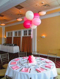This balloon centerpiece can be made in any color for your baby naming, communion, bat or bar mitzvah or any occasion!