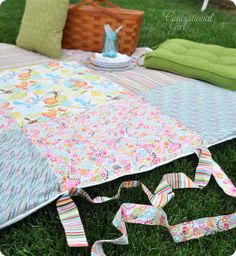 As a wedding gift for my brother and his new wife, I've decided to do something personal. They love picnics, so I'm putting together a complete picnic set, starting with this blanket. I'll even add some bunting to match to make any occasion a festive one!