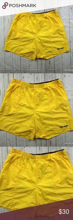"""VTG Polo Sport Yellow Swim Trunks Men's Size XXL 90s Polo Sport Ralph Lauren Yellow Spell Out Flag Swim Trunks Men's XXL 2XL, Vintage Polo Sport, Vintage Swimming Trunks  Rare Yellow Vintage Polo Sport Swim Trunks in Great Shape, Clean!  Brand: Polo Sport by Ralph Lauren Size: Men's XXL Material: Nylon Shell, Polyester Brief  Detailed Measurements: (Front Side of Garment has been measured laying flat on a table)  Measurements:  Waist:     34"""" inches  Inseam: 7"""" inches Length:       19""""…"""