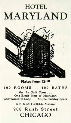 1934 Ad Hotel Maryland 900 Rush Street Chicago William Mitchell Loop YHT1