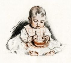 vintage baby illustration, victorian baby, baby eating from bowl, free vintage image, Maud Tousey Fangel, antique magazine baby image, baby ...