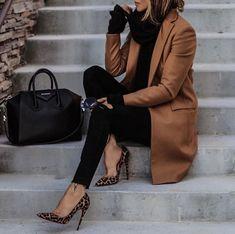 cowl neck top, camel coat, leopard print pumps