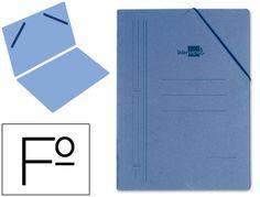 Carpeta Liderpapel gomas folio bolsa carton rigido azul 01345, Hipermaterial.