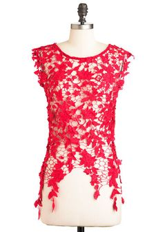 Fashionable Finesse Top in Red, #ModCloth
