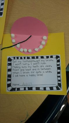 Dental health @Lauren Davison Berlureau - would be cute to do when you make your presentation! Super easy too!!
