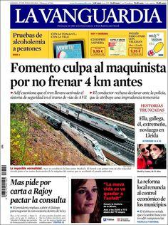 Los Titulares y Portadas de Noticias Destacadas Españolas del 27 de Julio de 2013 del Diario La Vanguardia ¿Que le pareció esta Portada de este Diario Español?