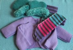 "Tutorial and free pattern for making jacket, scarf and hat for 18"" doll (American Girl, etc) from dollar store hat and two scarves."
