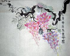 Why It's Wisteria  Ink & Color on Pale Green Xuan