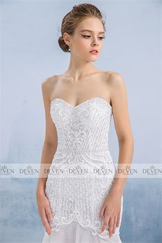 Embroidery Bodice Sweetheart Neckline Mermaid Lace Gown